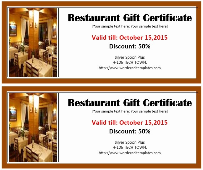 13 Free Sample Restaurant Voucher Templates Printable