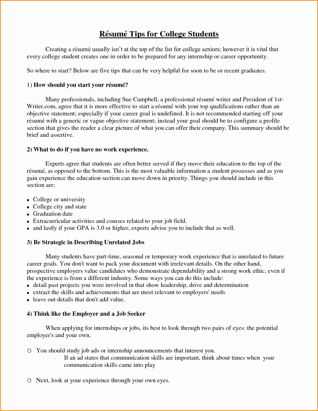 13 Good Resume for College Student