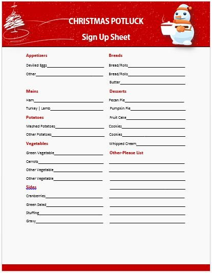 13 Gorgeous Christmas Potluck Signup Sheets to Impress