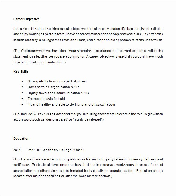13 High School Resume Templates Pdf Doc