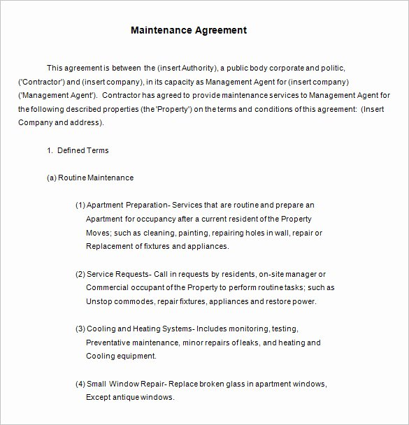 13 Maintenance Contract Templates Free Word Pdf