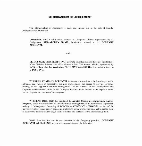 13 Memorandum Of Agreement Templates Pdf Doc