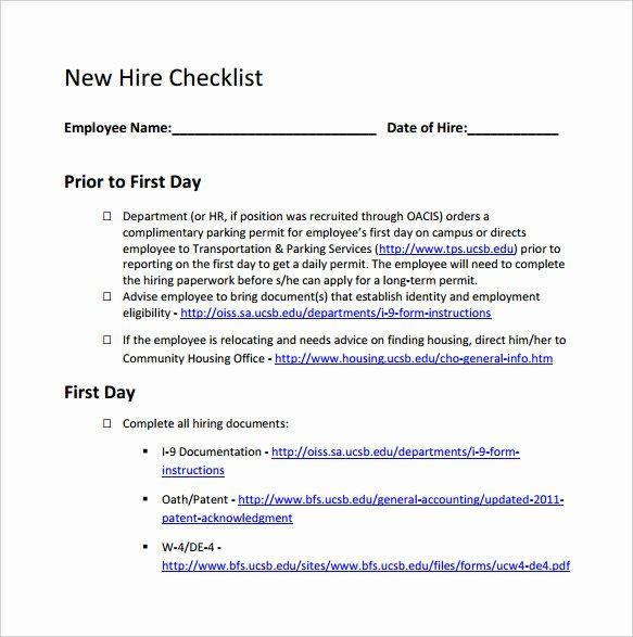 13 New Hire Checklist Samples