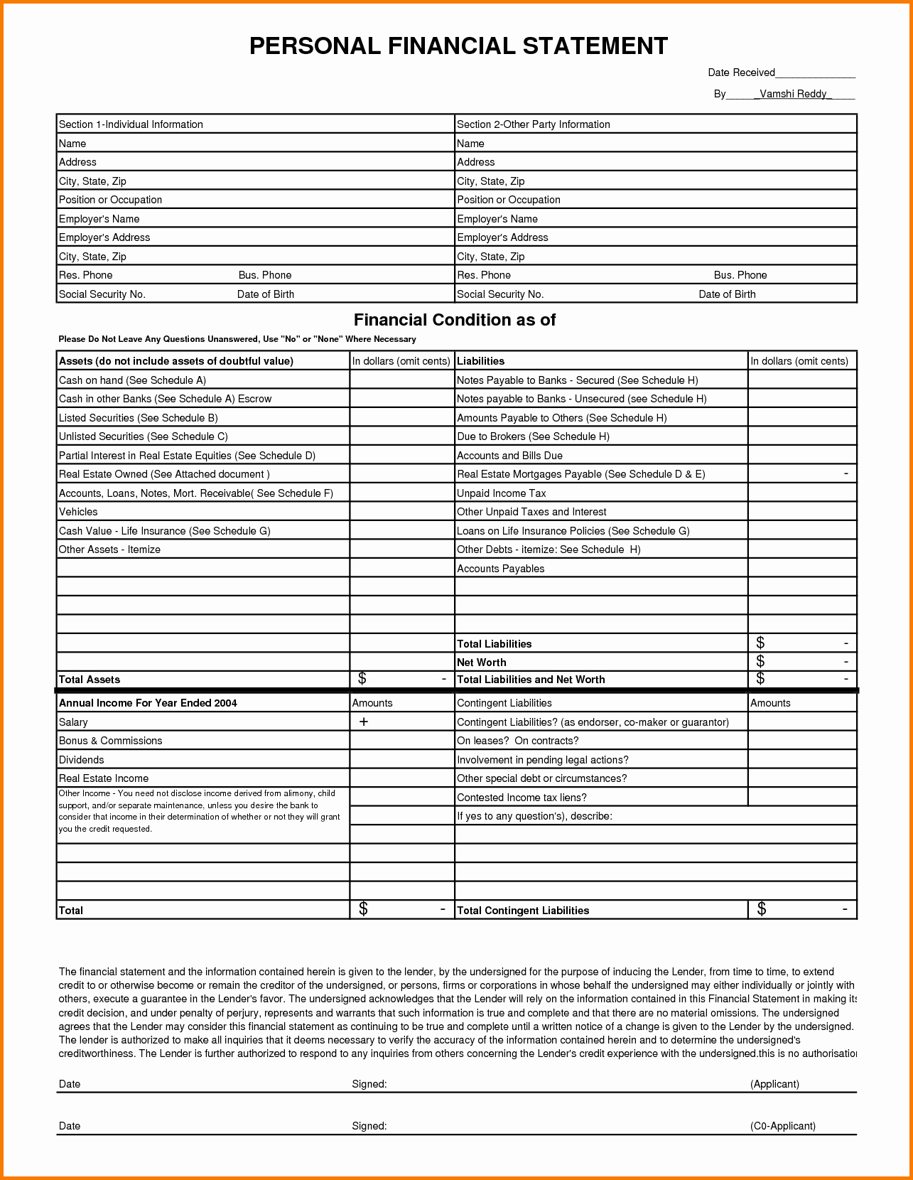 13 Personal Financial Statement form Free