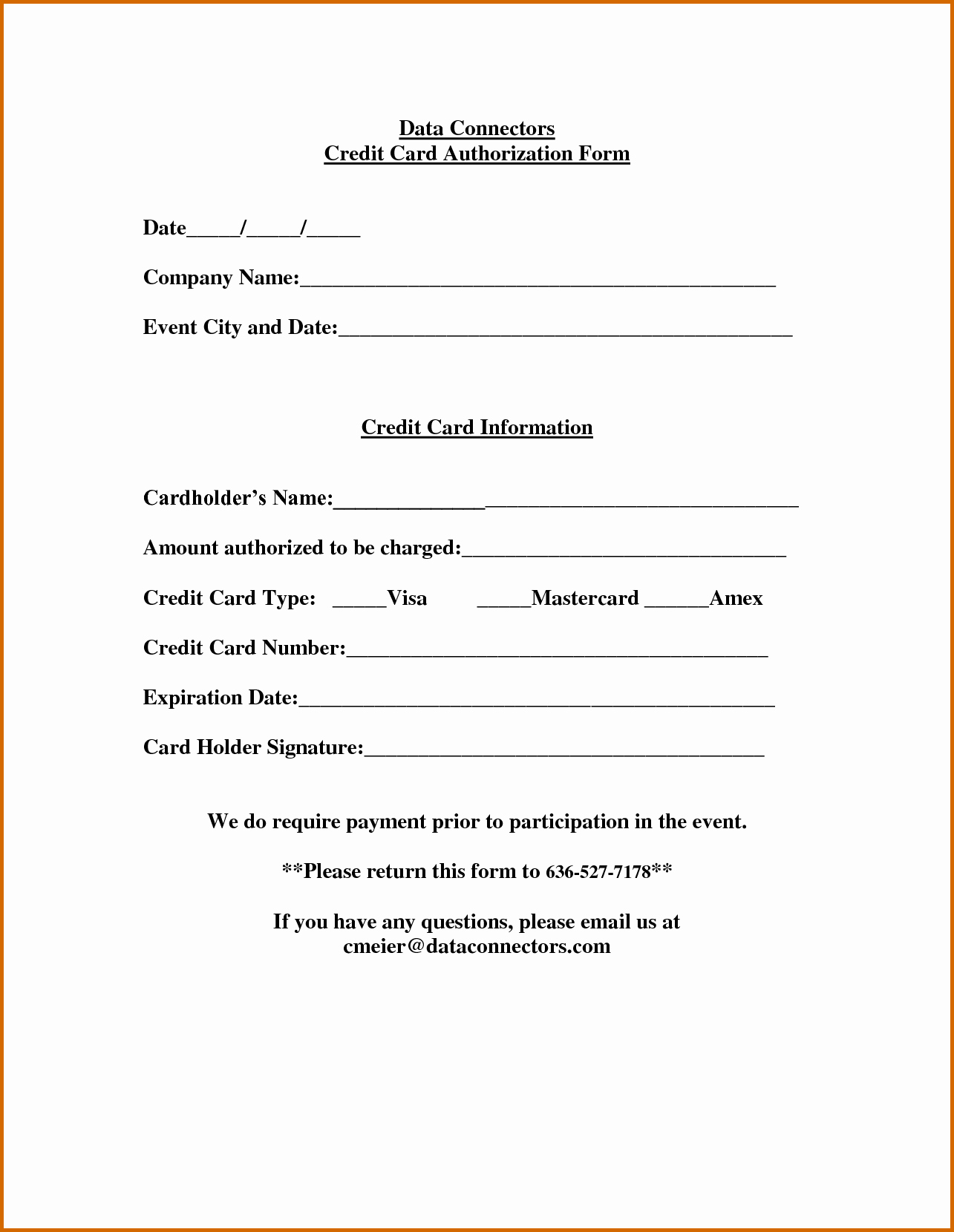 13 Printable Credit Card Authorization form