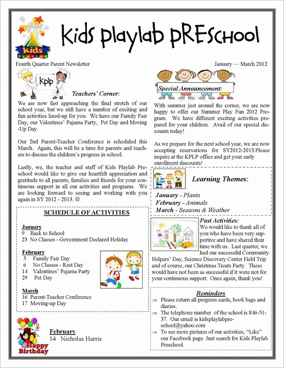 13 Printable Preschool Newsletter Templates – Free Word