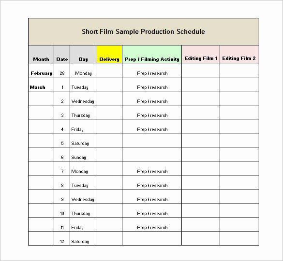 13 Production Schedule Templates Pdf Doc
