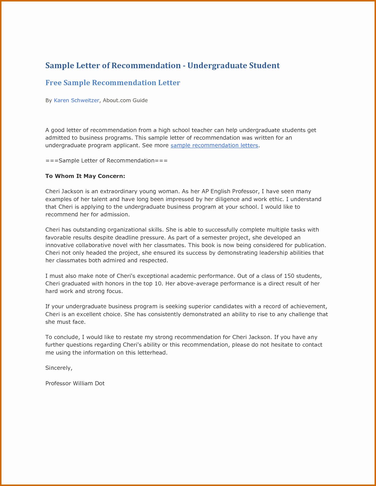 13 Re Mendation Letter for Student Sample