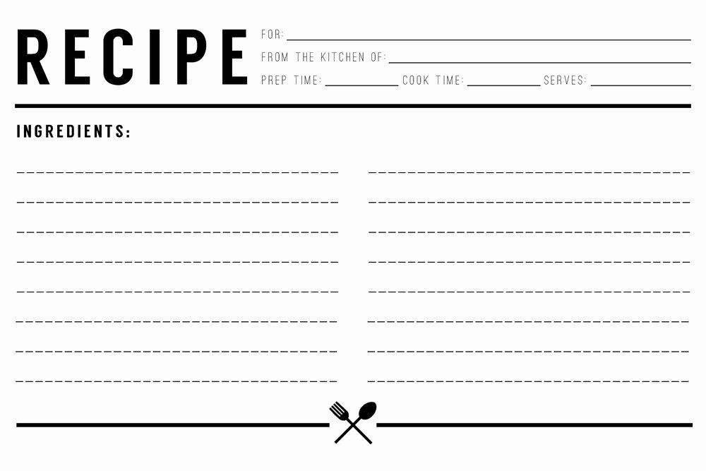recipe card template free
