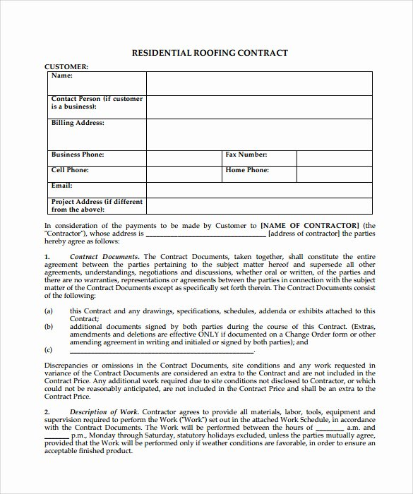 13 Roofing Contract Templates to Download for Free