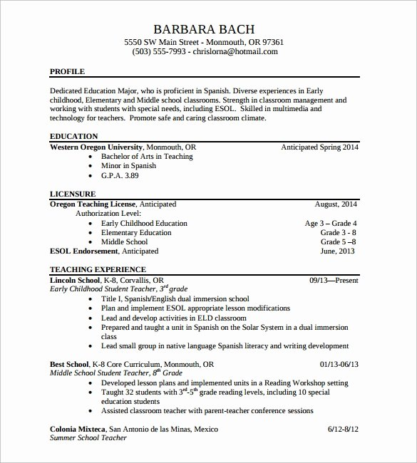 13 Sample Elementary Teacher Resumes