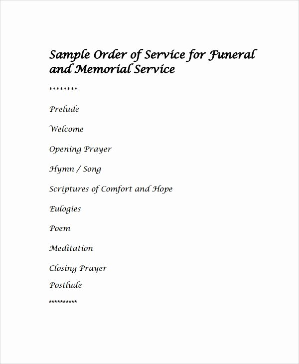 13 Sample Funeral Service Templates