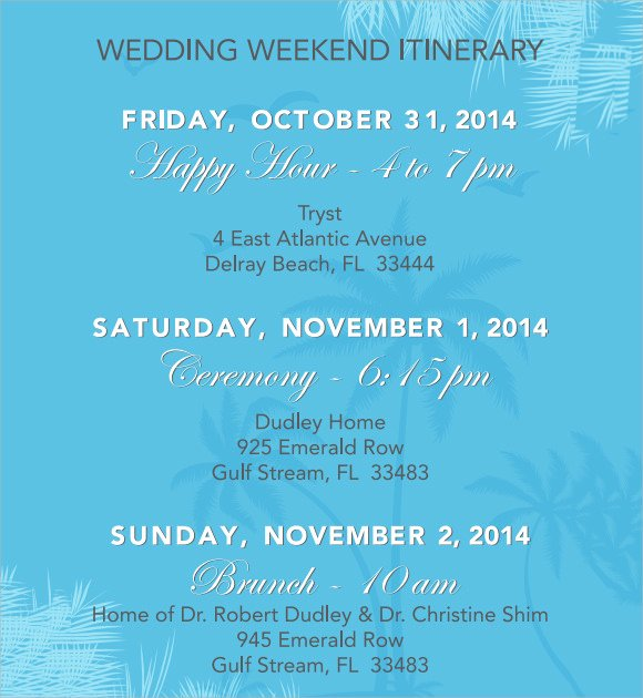 13 Sample Wedding Weekend Itinerary Templates
