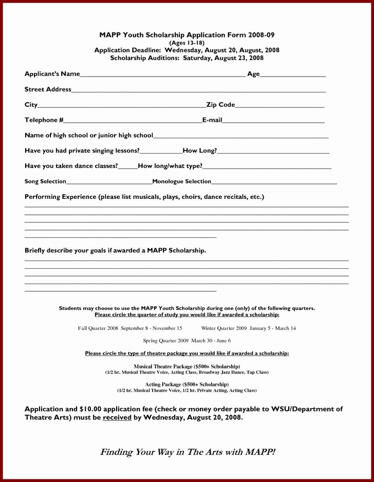 13 Scholarship Application Templates Free Download