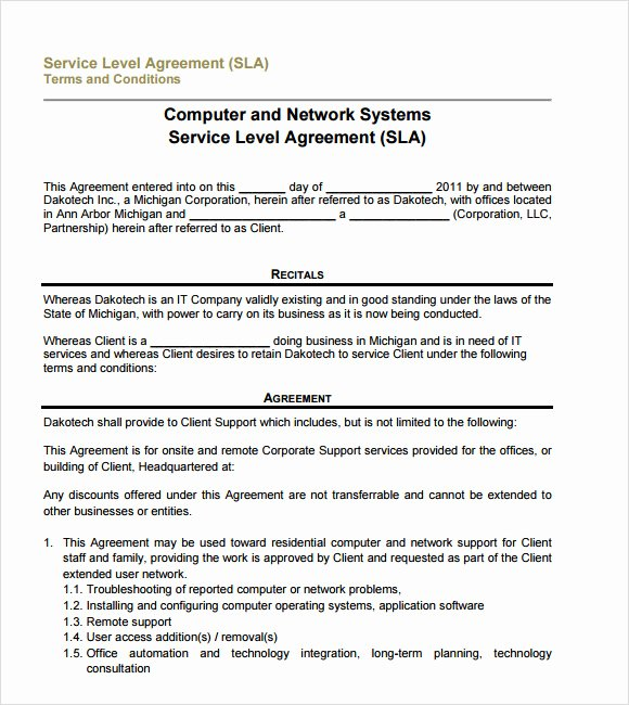 13 Service Level Agreement Samples