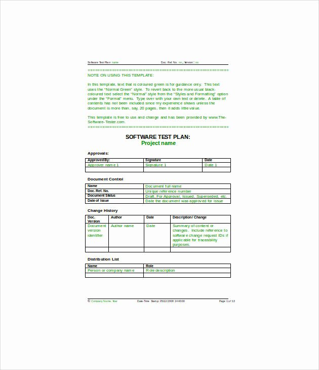 13 Simple Test Plan Templates Pdf Word