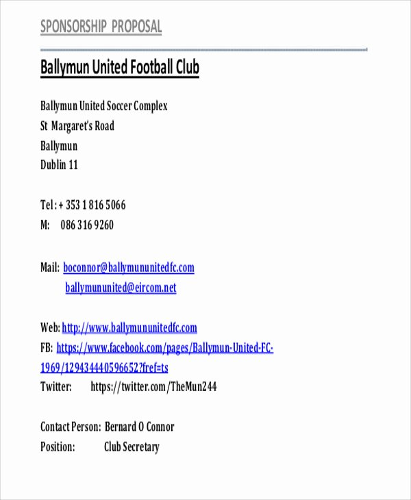 13 Sports Sponsorship Proposal Templates Free Word Pdf