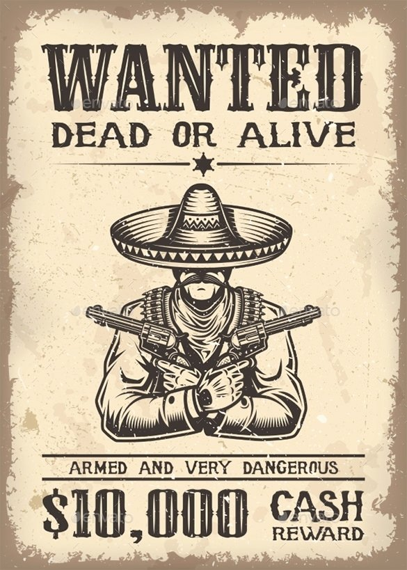 13 Western Wanted Poster Free Printable Word Pdf Psd