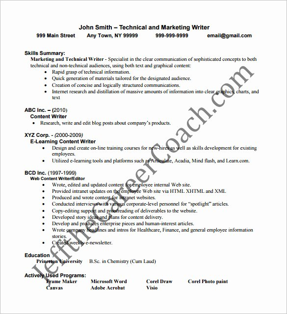 13 Writer Resume Templates Doc Excel Pdf