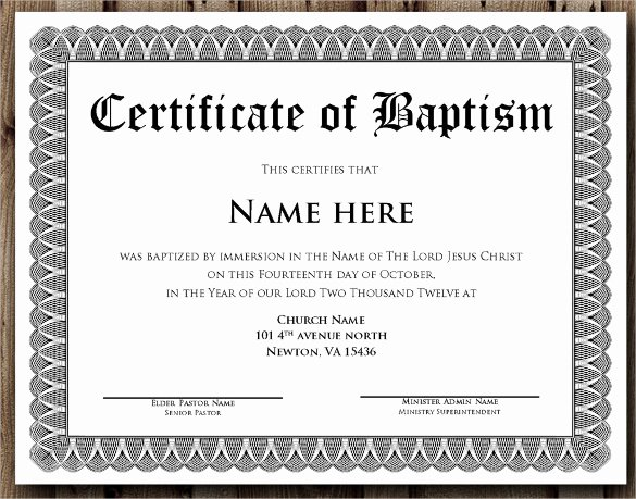 14 Baptism Certificate Templates – Samples Examples