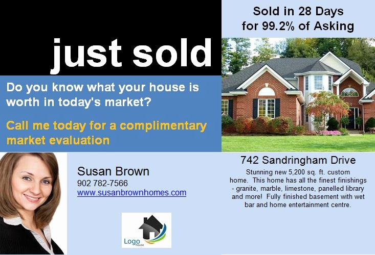 14 Best S Of Real Estate Postcards Just sold Template