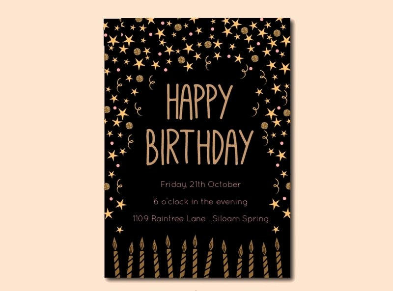 14 Black and Gold Birthday Invitation Designs and