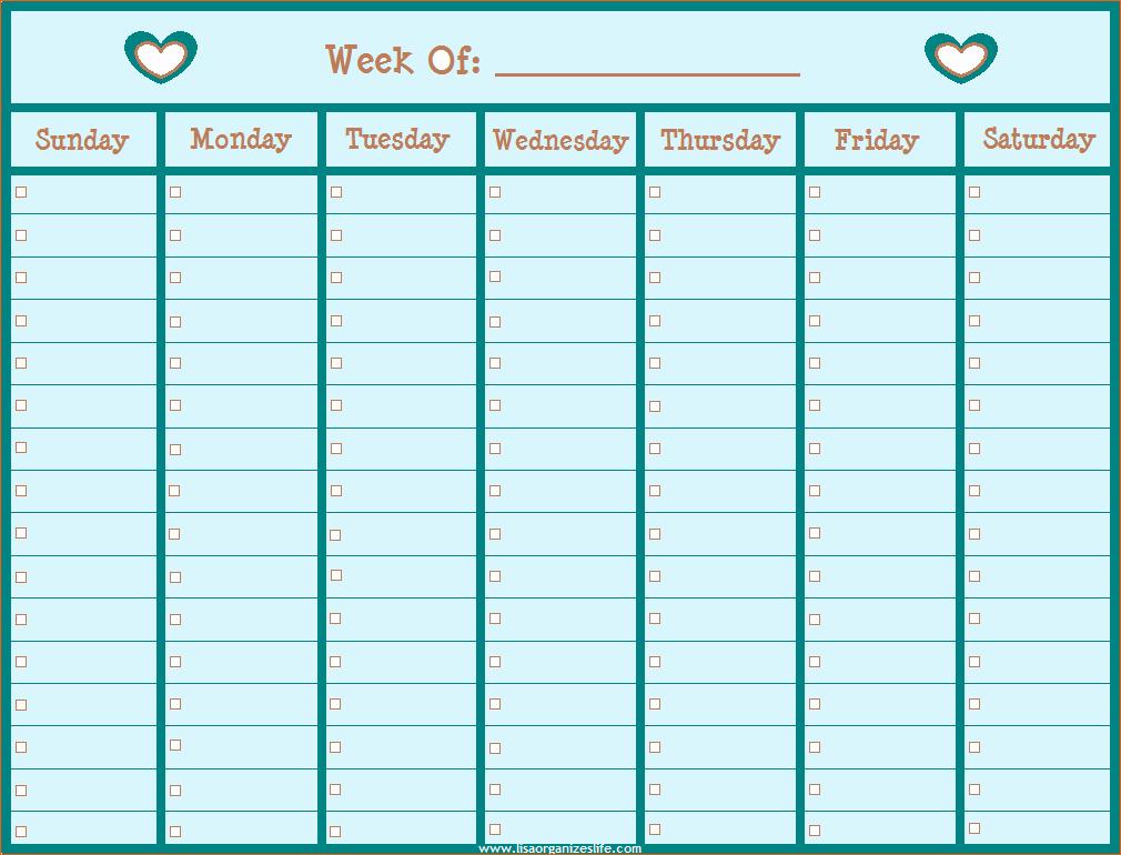 14 Blank Weekly Calendar