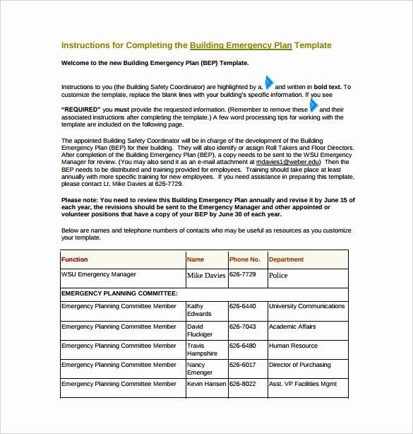 14 Emergency Plan Templates Free Sample Example