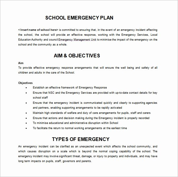 14 Emergency Plan Templates Free Sample Example