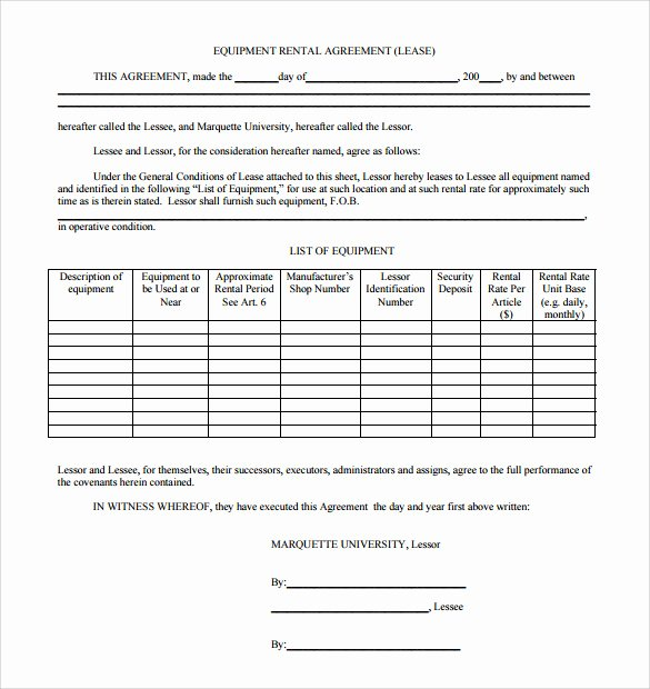 14 Equipment Rental Agreement Templates