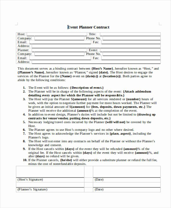 14 event Planner Contract Samples