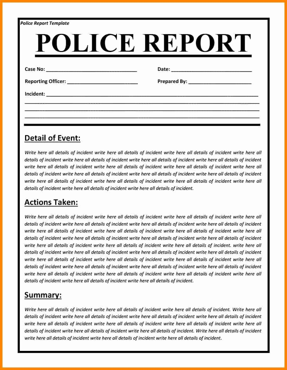 14 Fake Police Report Template