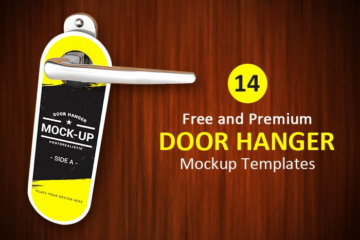 14 Free and Premium Door Hanger Mockup Templates Designyep