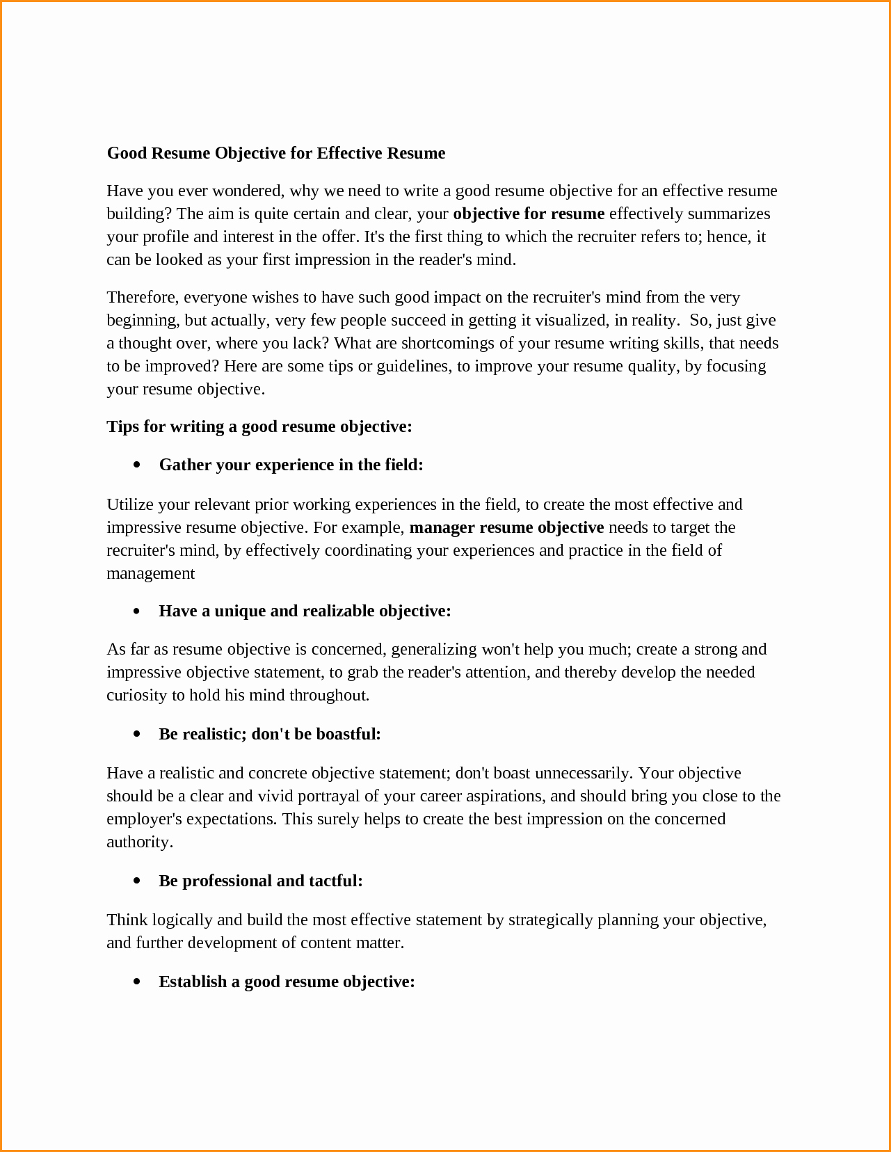 14 Good Objective In Resume