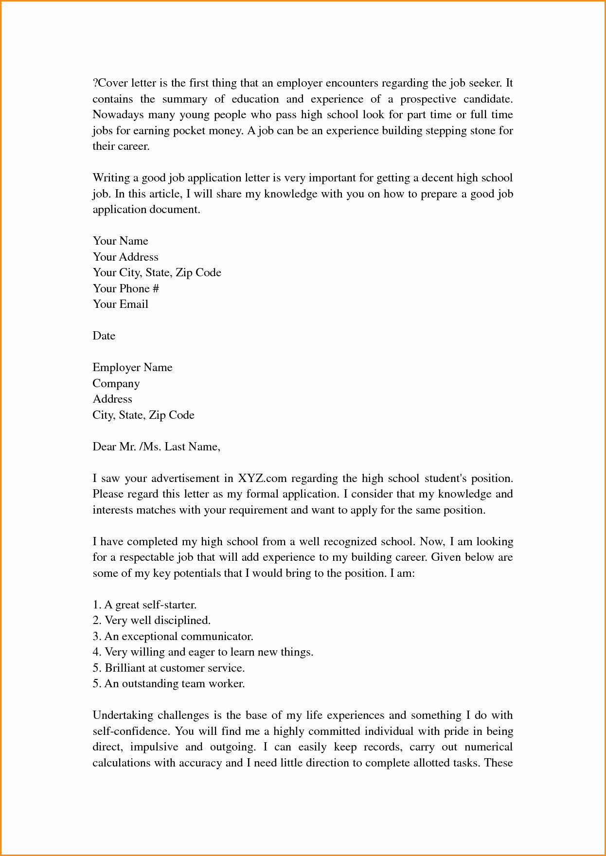 14 High School Cover Letter Template