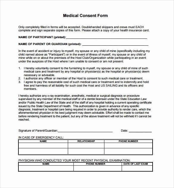 14 Medical Consent form Templates – Free Samples