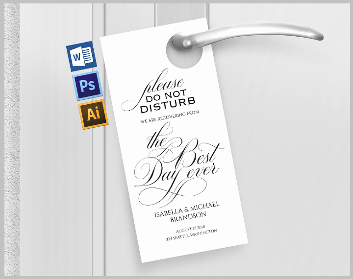 14 Memorable Wedding Door Hanger Templates Psd Vector
