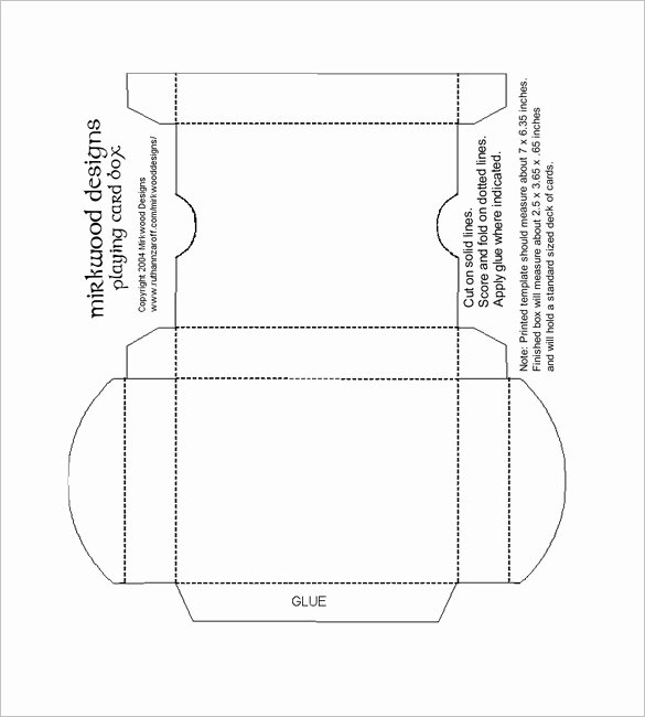 14 Playing Card Box Templates Doc Pdf