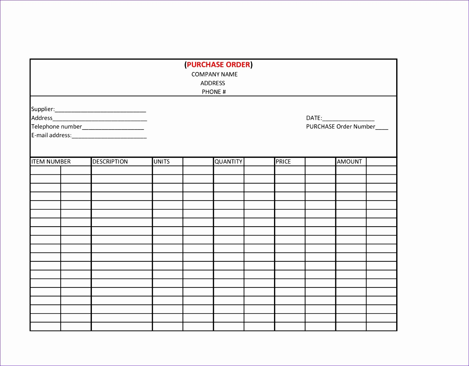 14 Purchase order Excel Template Exceltemplates