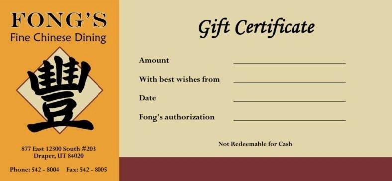 14 Restaurant Gift Certificates