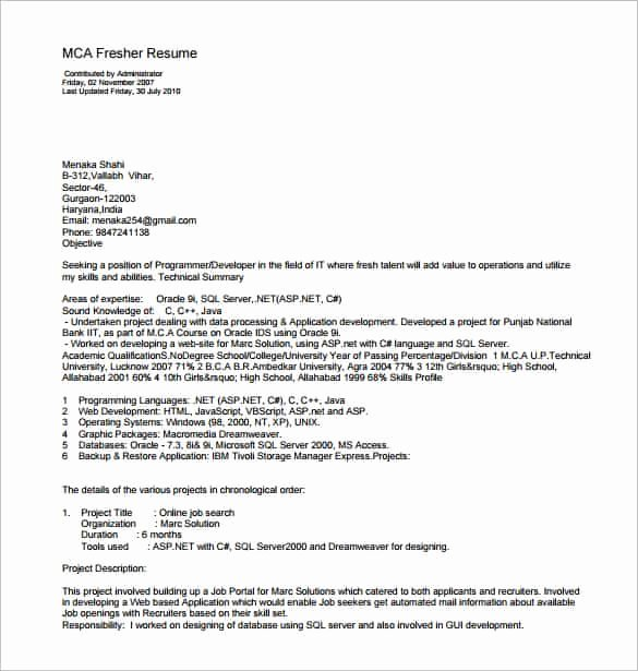 14 Resume Templates for Freshers Pdf Doc