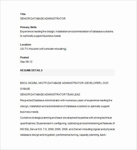 14 Sample Database Administrator Resume Templates Doc