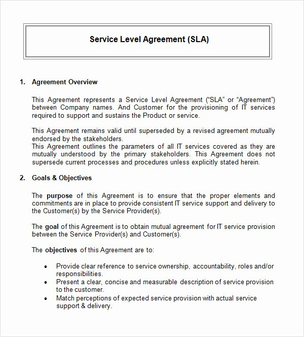 14 Sample Service Level Agreement Templates – Pdf Word