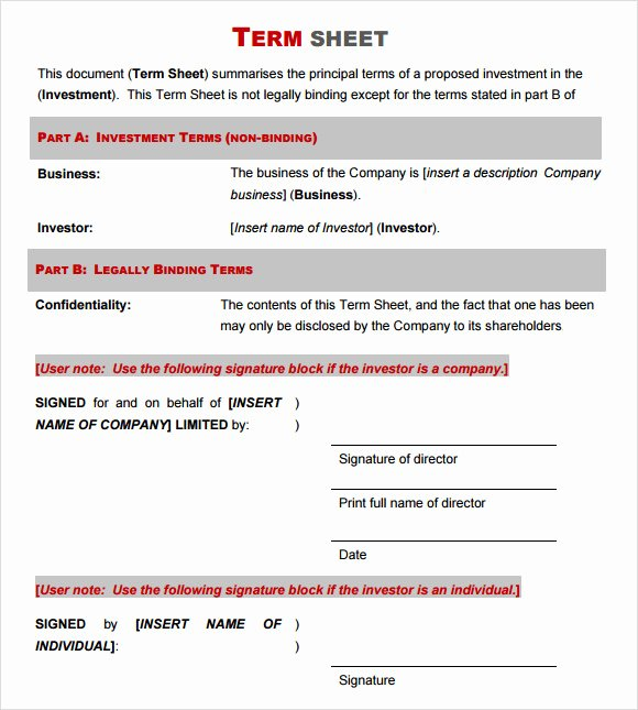 14 Sample Term Sheet Templates to Download