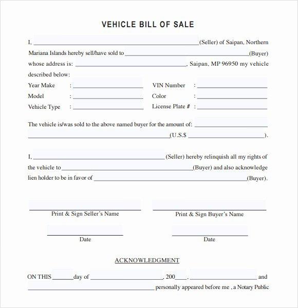 14 Sample Vehicle Bill Of Sales – Pdf Word