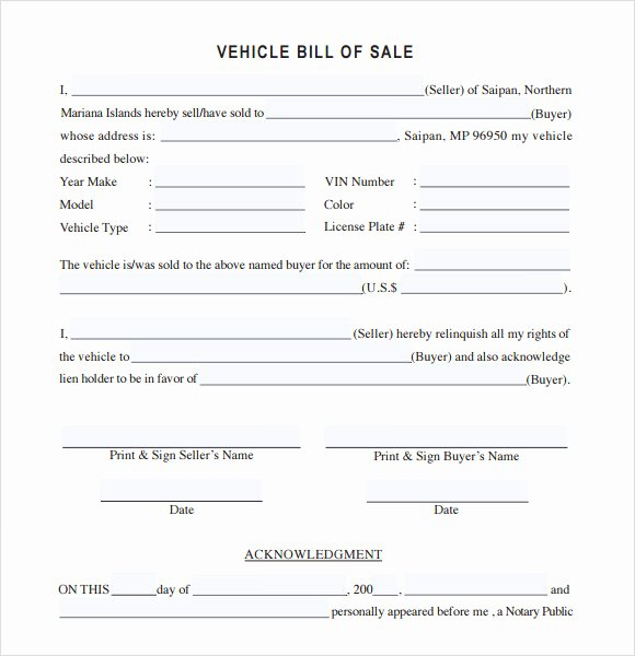 14 Sample Vehicle Bill Of Sales – Pdf Word