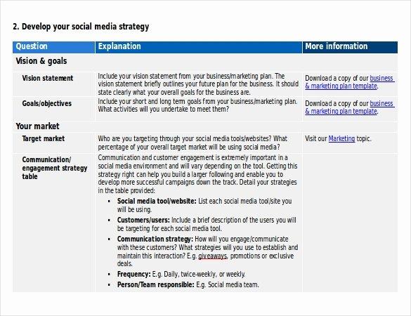 14 social Media Strategy Templates – Free Sample Example
