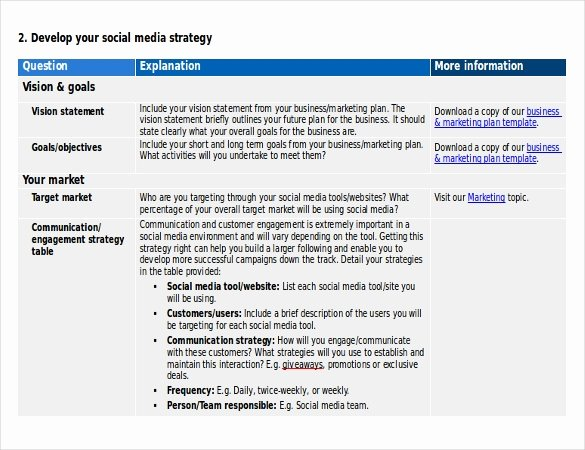 14 social Media Strategy Templates – Free Sample Example