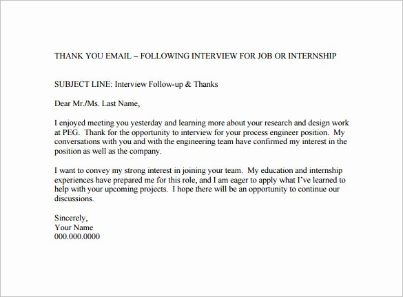 14 Thank You Email after Interview Doc Excel Pdf