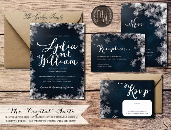 14 Winter Wedding Invitation Templates – Sample Example
